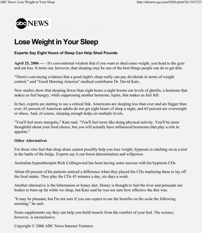 Lose Weight In Your Sleep ABC News
