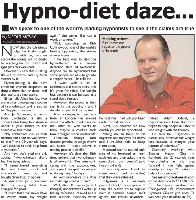 Hypno-diet article